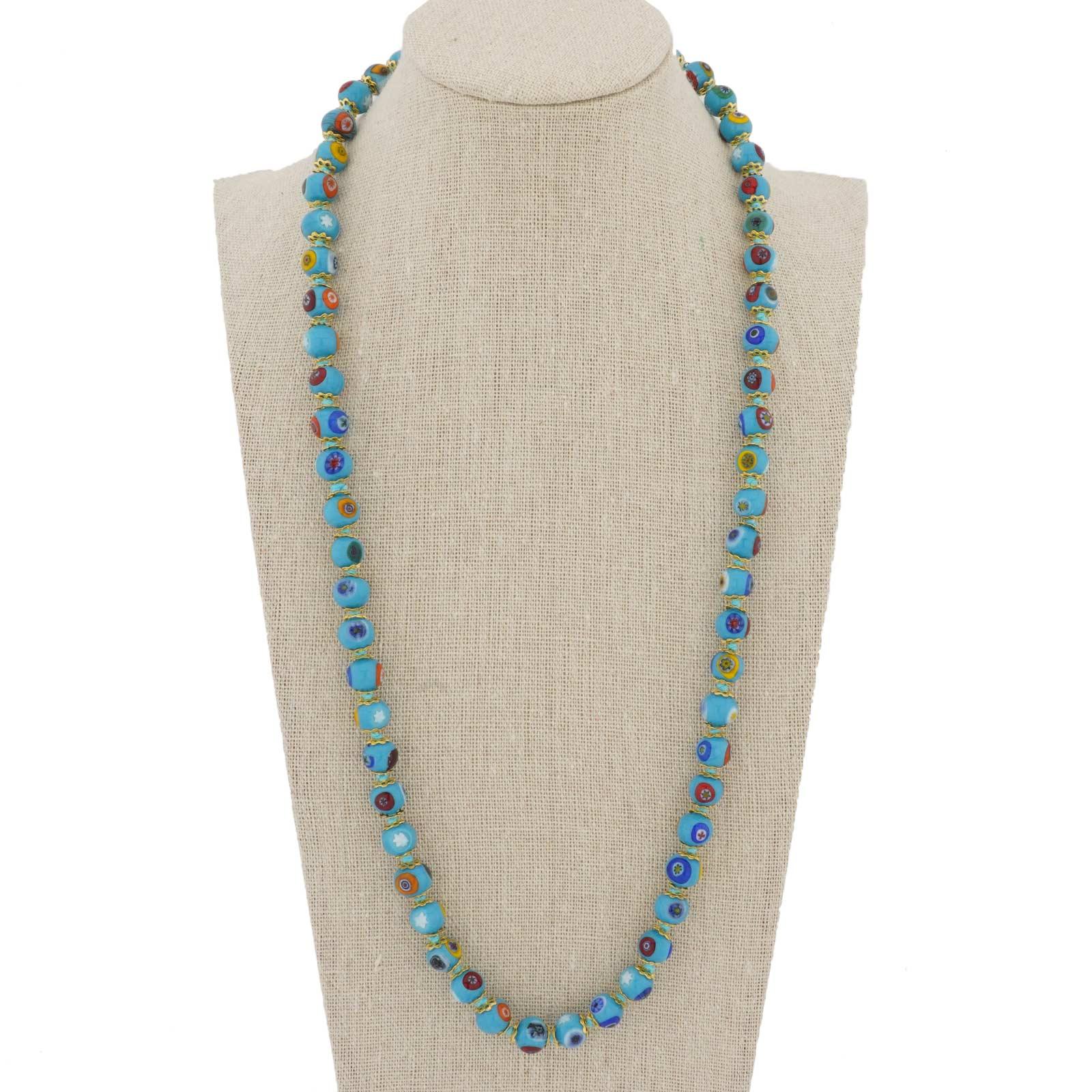 Murano Mosaic Long Necklace - Aqua