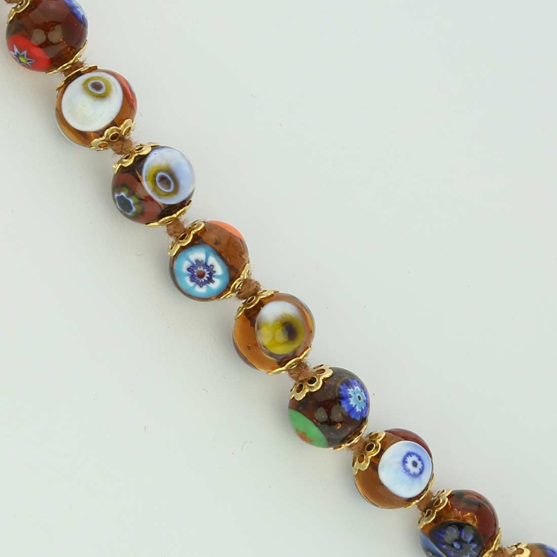 Murano Mosaic Long Necklace - Transparent Golden Brown