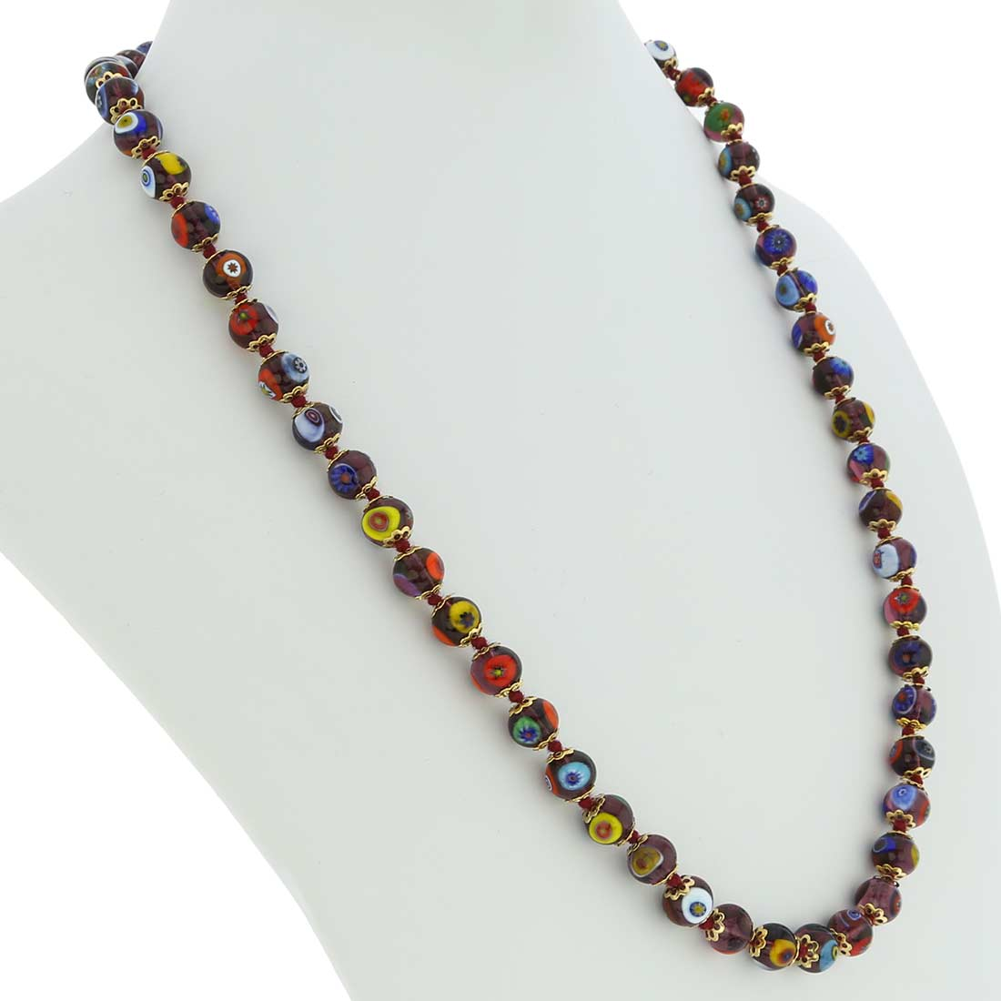 Murano Mosaic Long Necklace - Transparent Purple