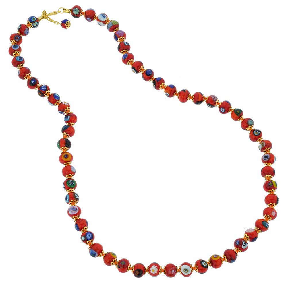 Murano Mosaic Long Necklace - Orange