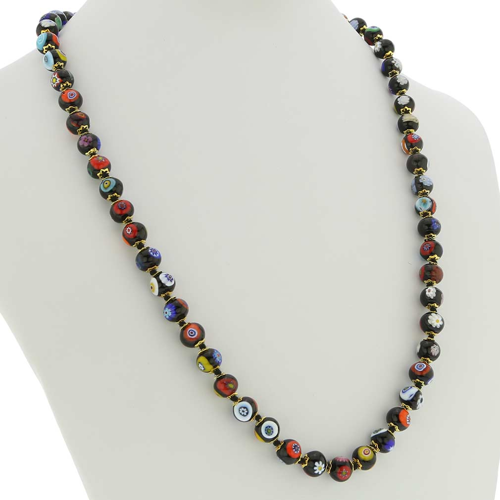Murano Mosaic Long Necklace - Black