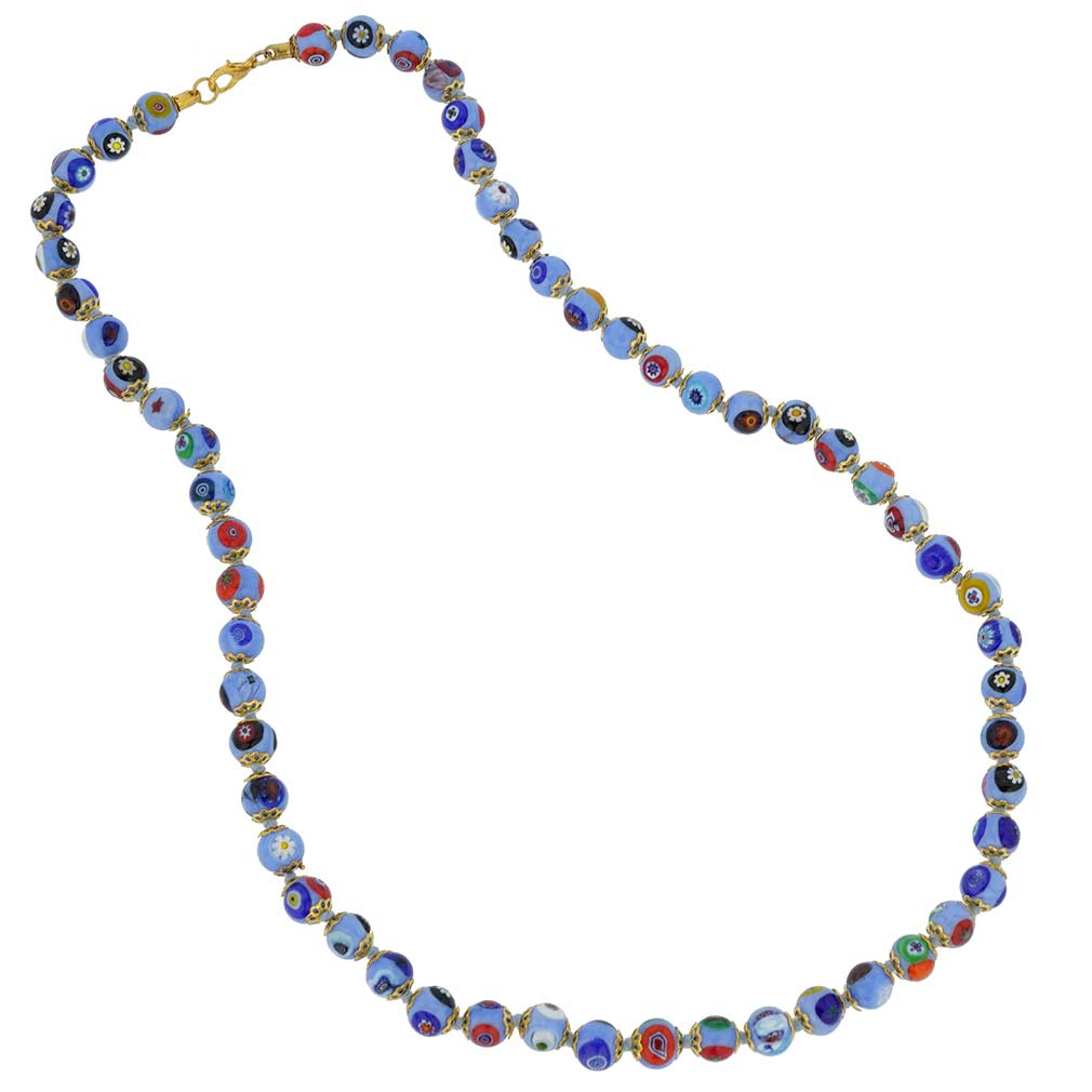Murano Mosaic Long Necklace - Periwinkle