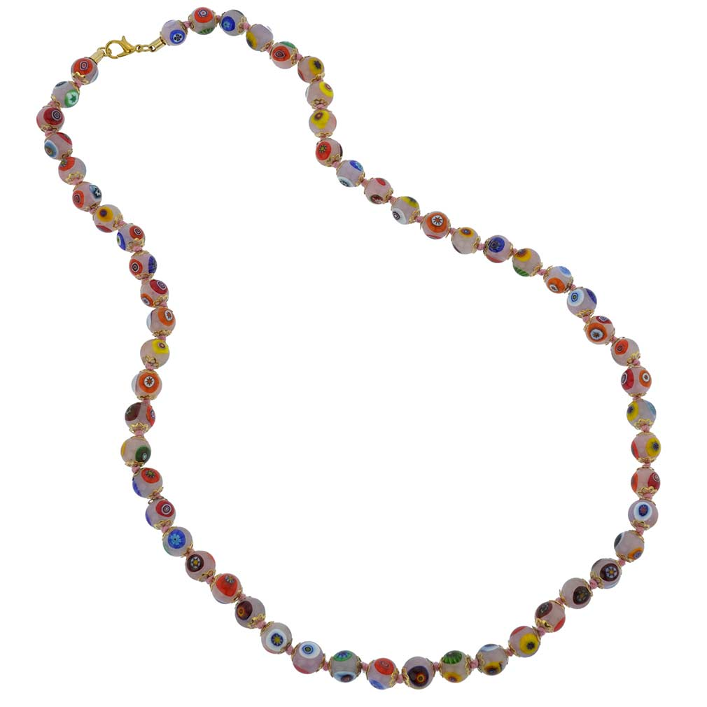 Murano Mosaic Long Necklace - Pink