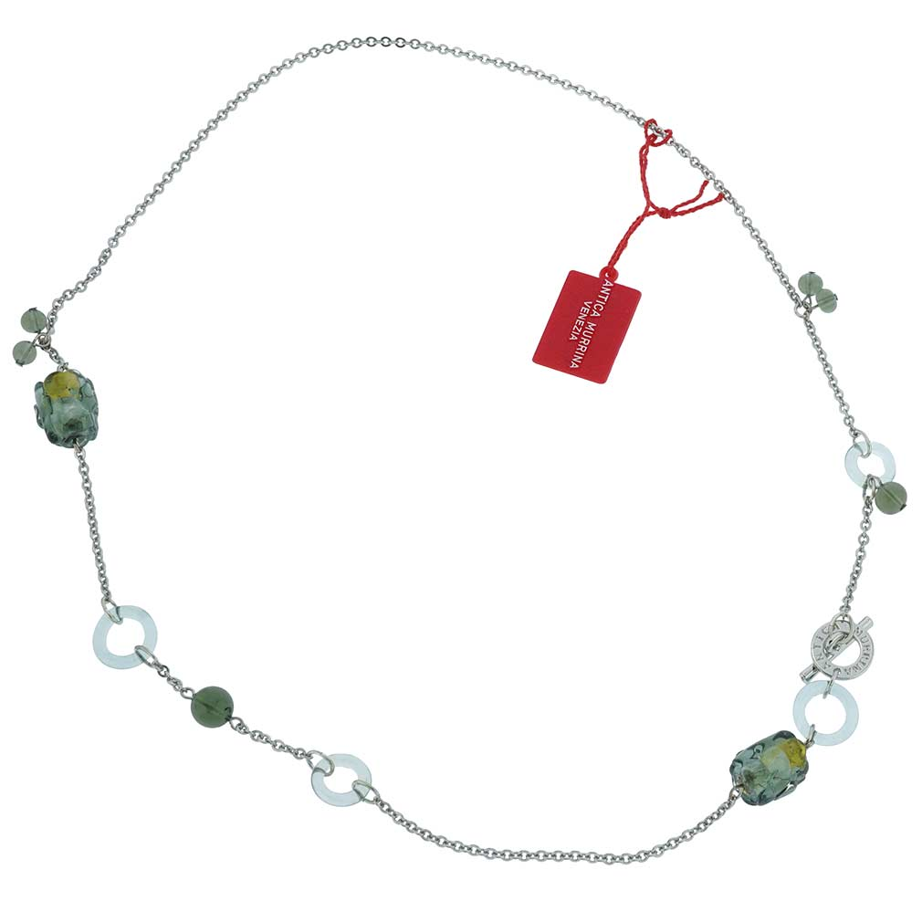 Air Murano Necklace - Silver Grey