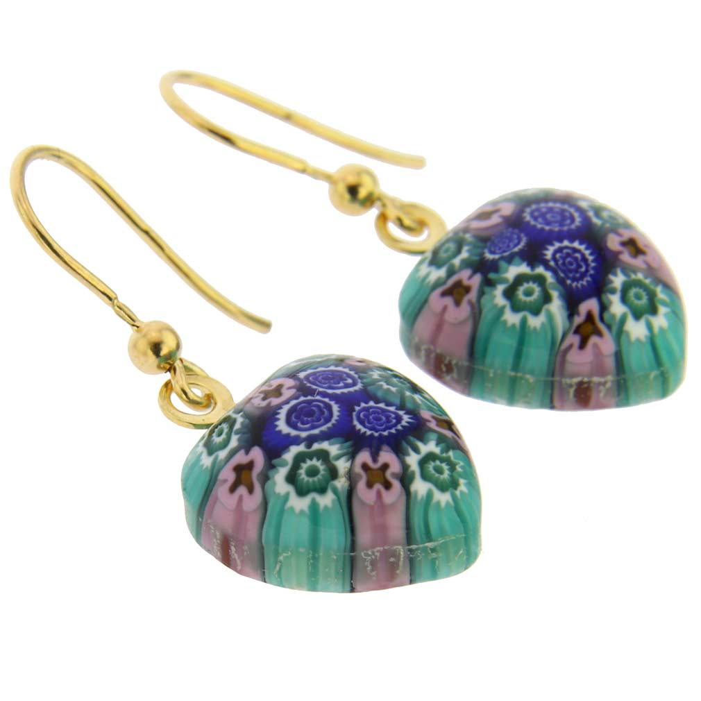 Millefiori Heart Earrings - Gold