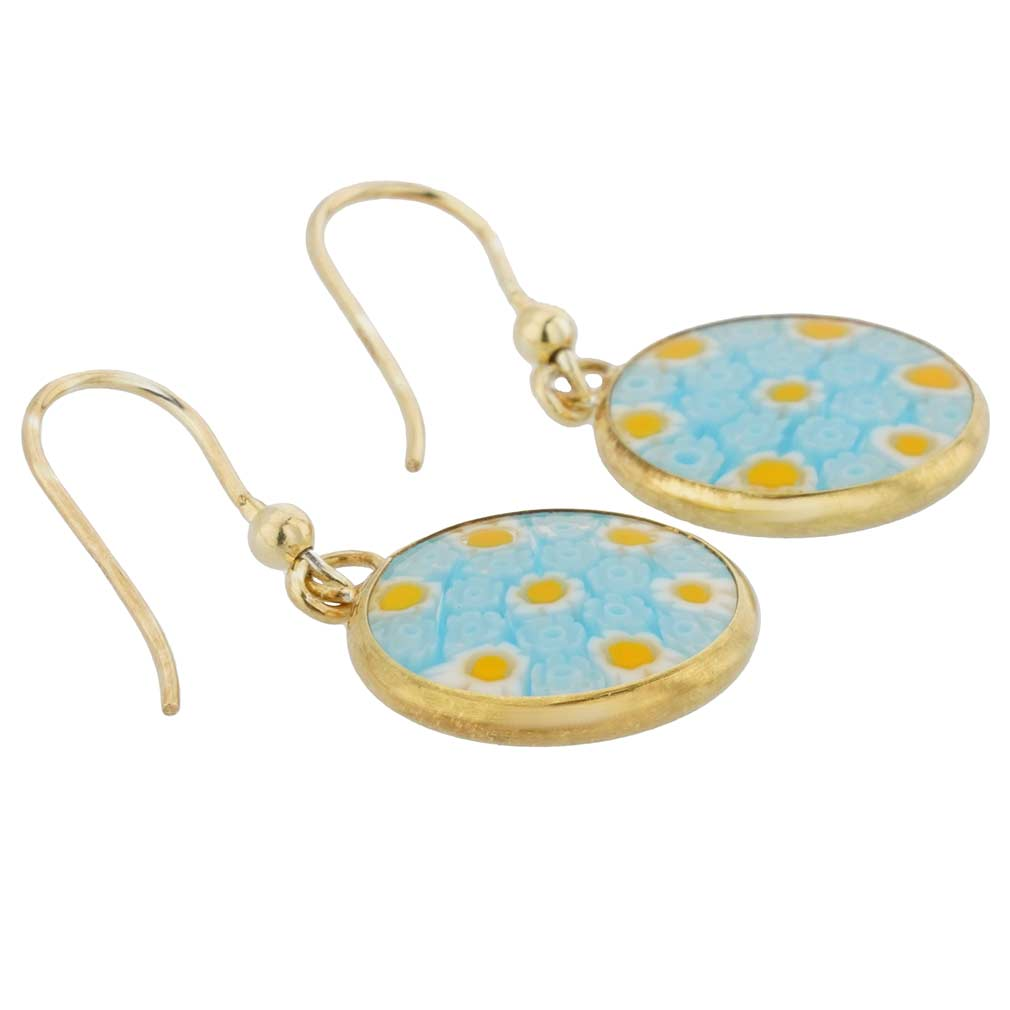 Millefiori Round Dangle Earrings - Gold