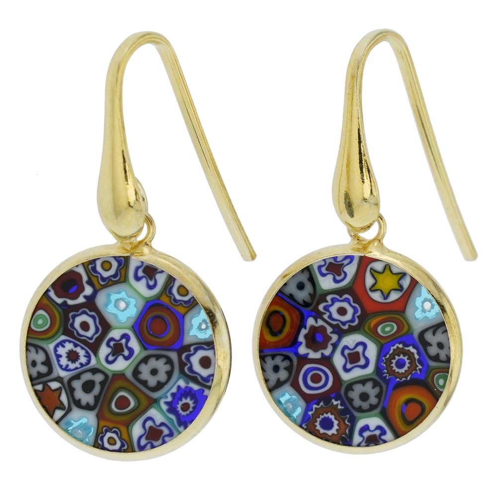 "Millefiori Round Dangle Earrings ""Multicolor\"" - Gold"