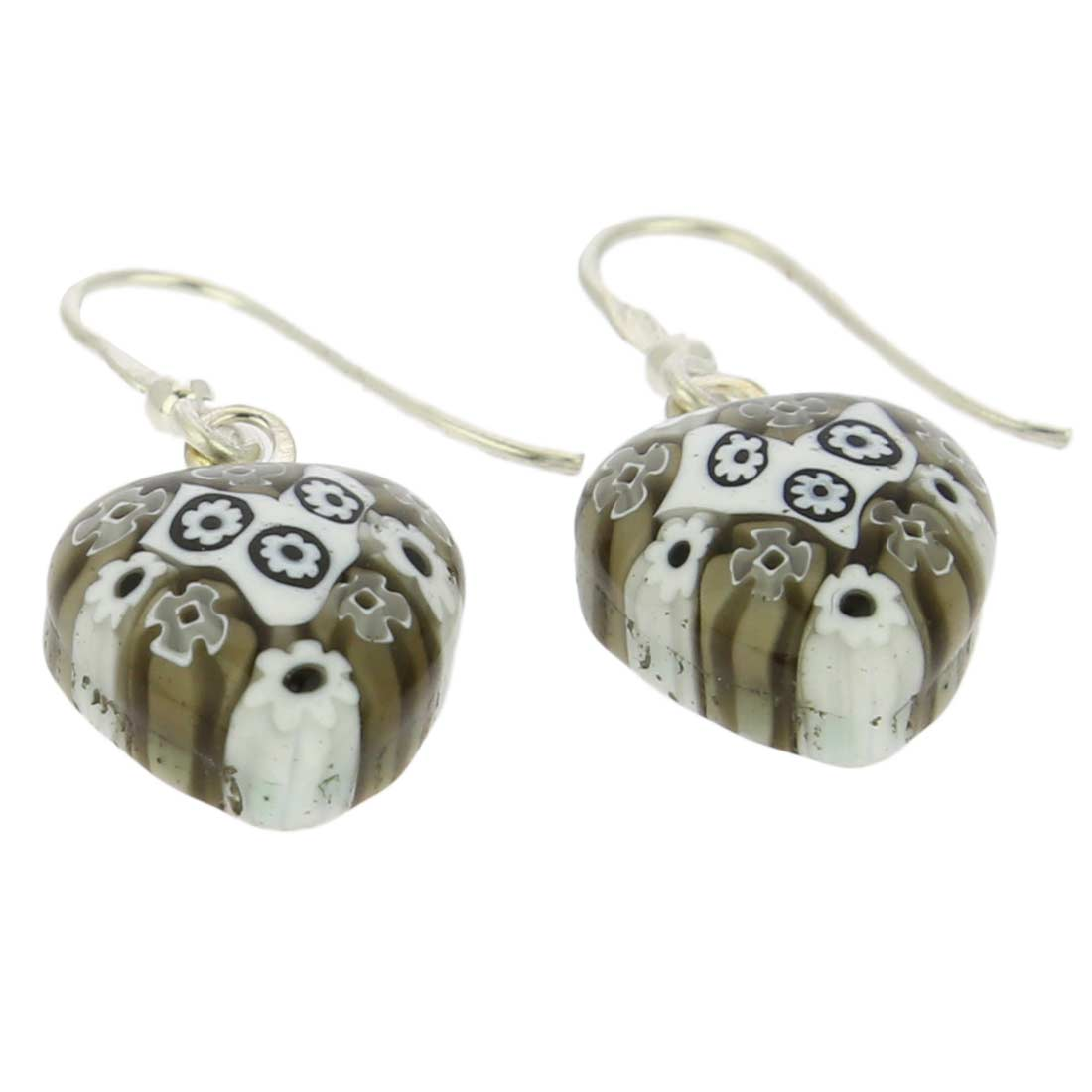Millefiori Heart Earrings- Silver