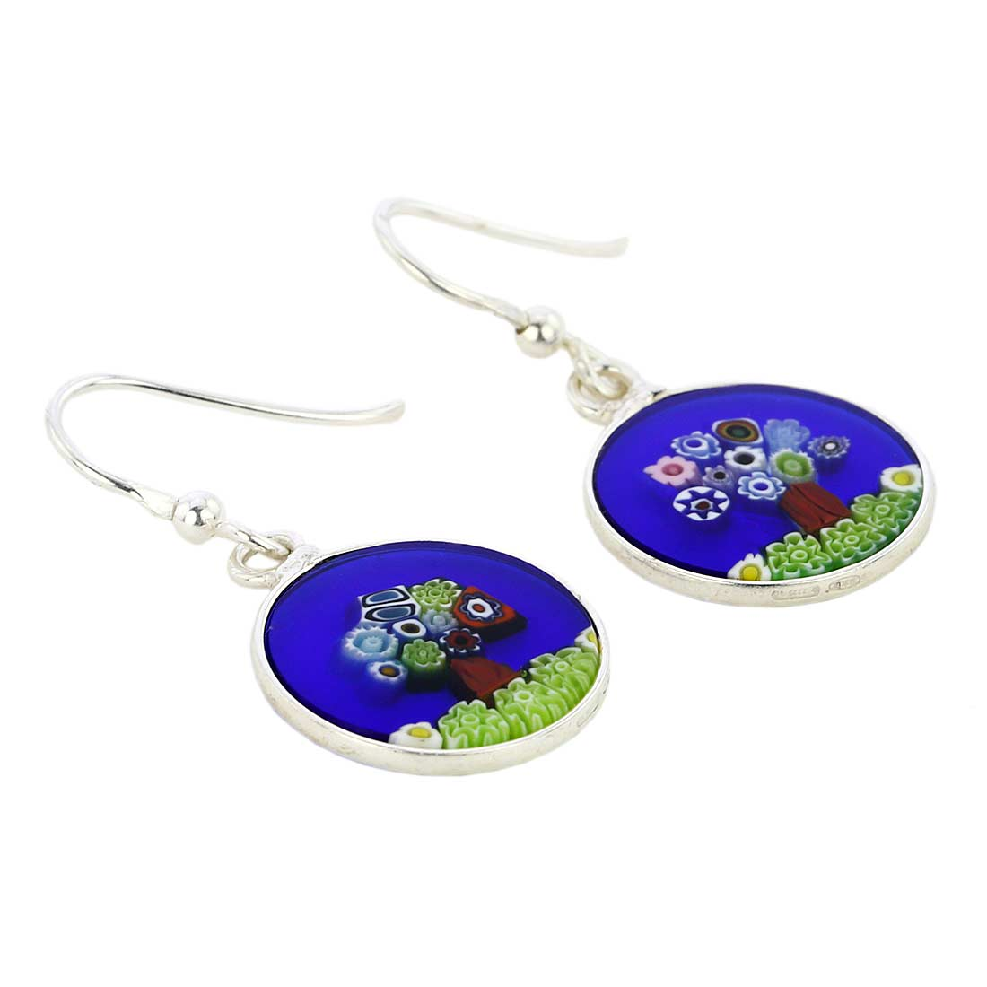 "Millefiori Round Dangle Earrings ""Tree Of Life\"" -Silver"