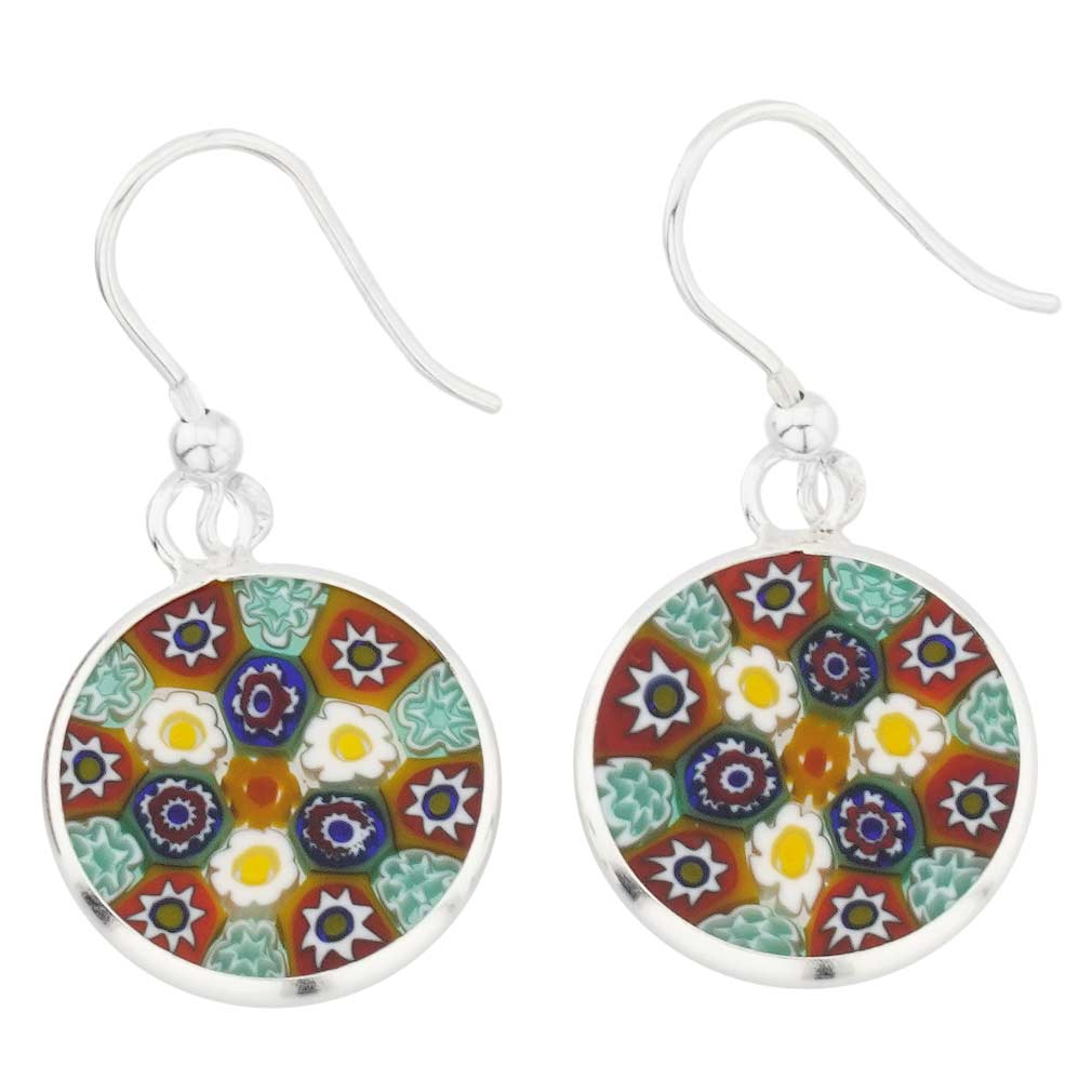 Millefiori Round Dangle Earrings - Silver