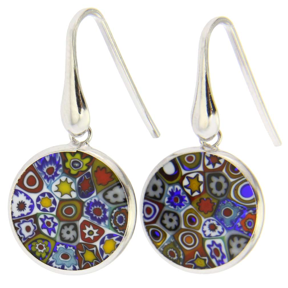 "Millefiori Round Dangle Earrings ""Multicolor\"" - Silver"