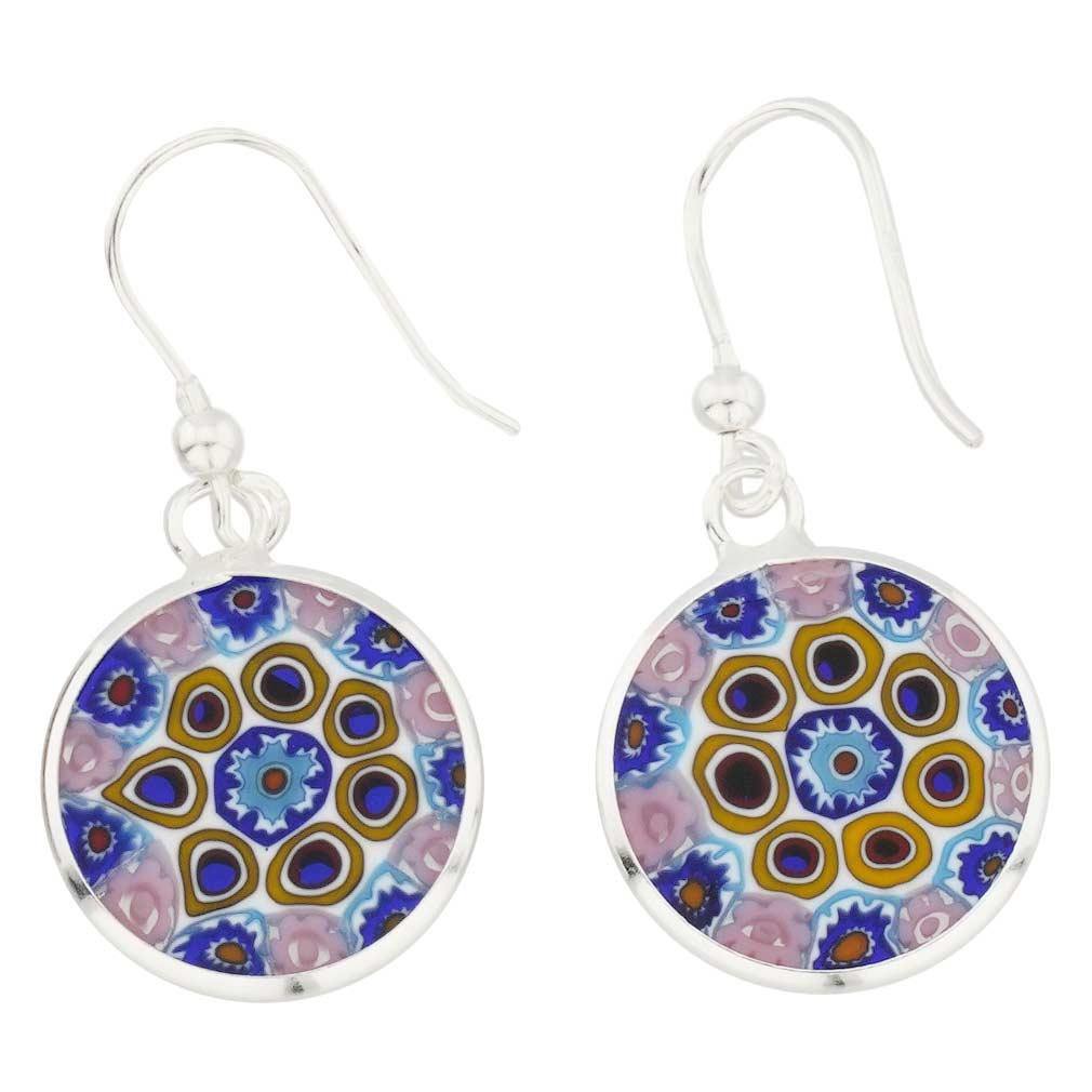 Millefiori drop earrings -silver