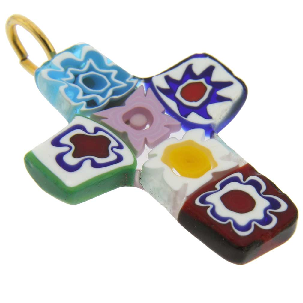 Millefiori Glass Cross Pendant #4