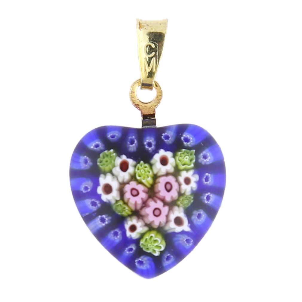 Millefiori heart pendant - gold #1