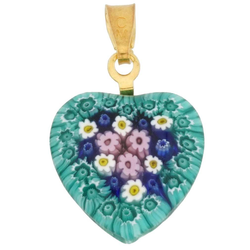 Millefiori Heart Pendant - Gold #3
