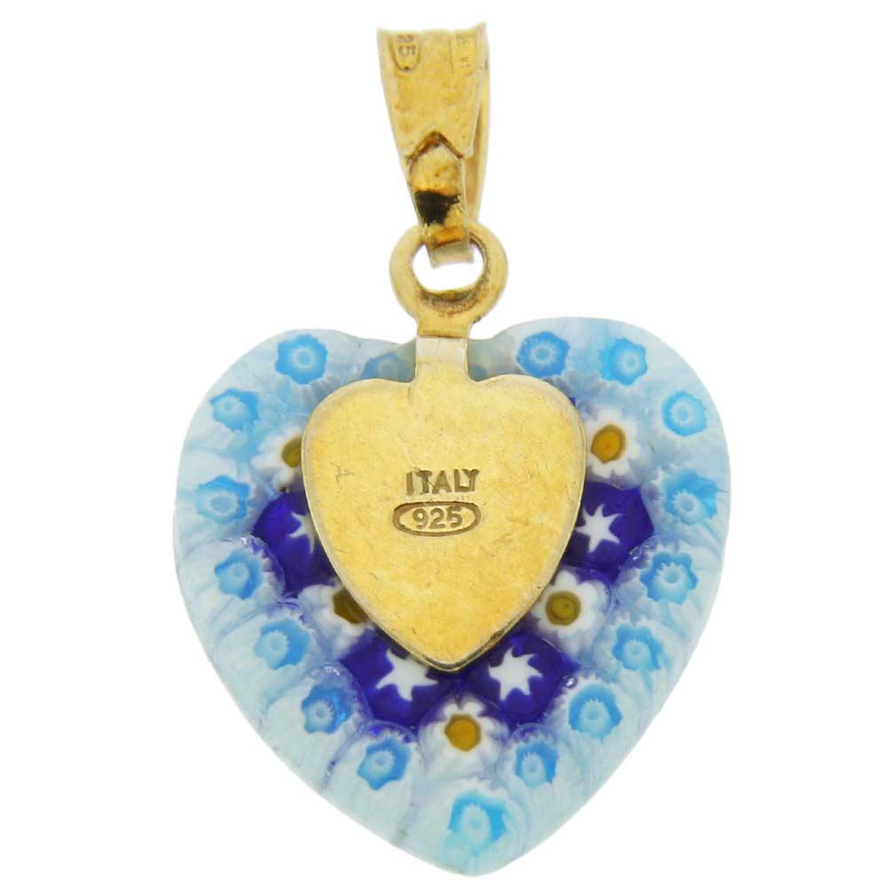 Millefiori Heart Pendant - Gold #4