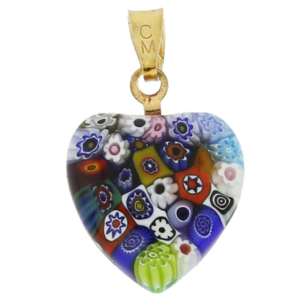 Millefiori Heart Pendant - Gold Multicolor