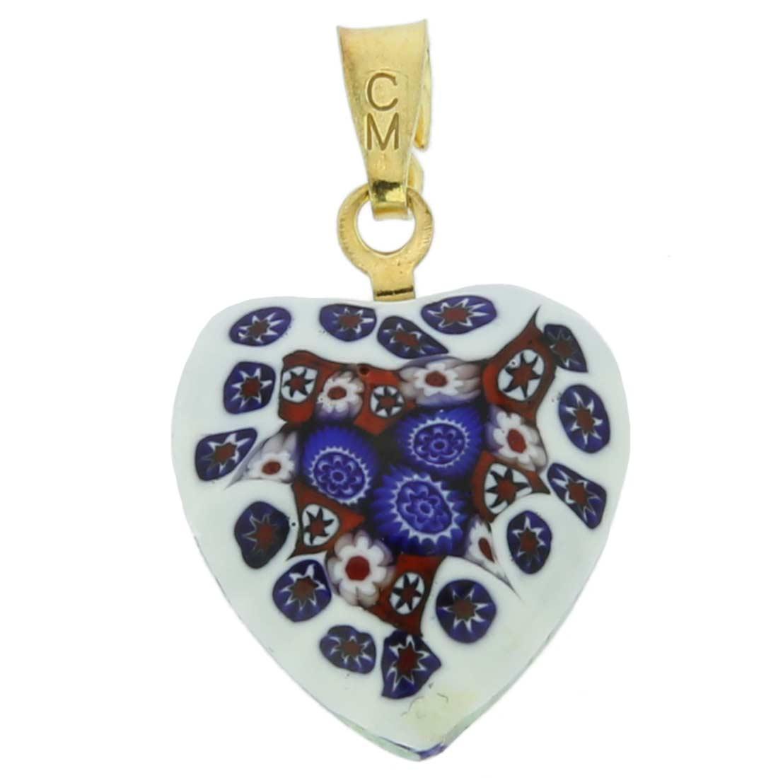 Millefiori heart pendant - gold #7