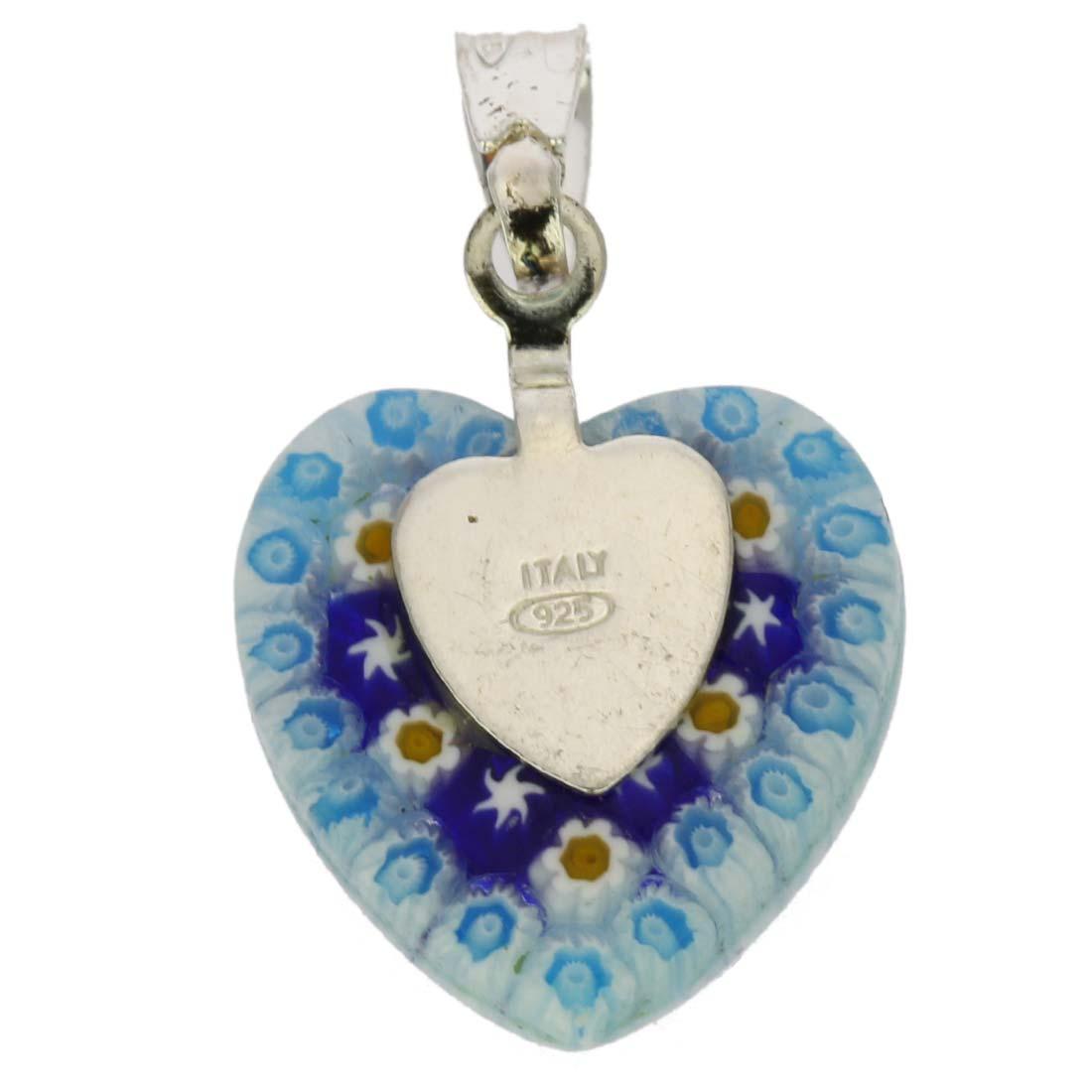 Millefiori Heart Pendant - Silver #1