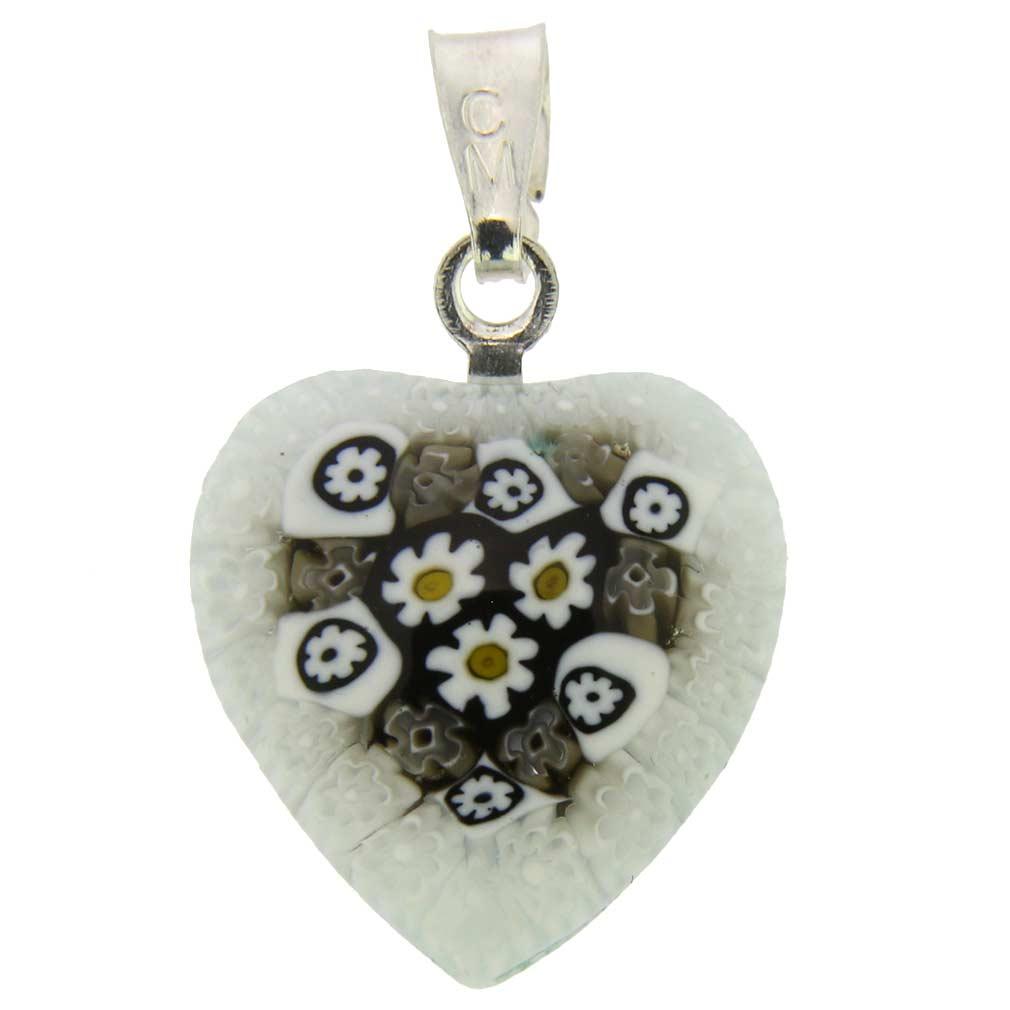 Millefiori Heart Pendant - Silver #3