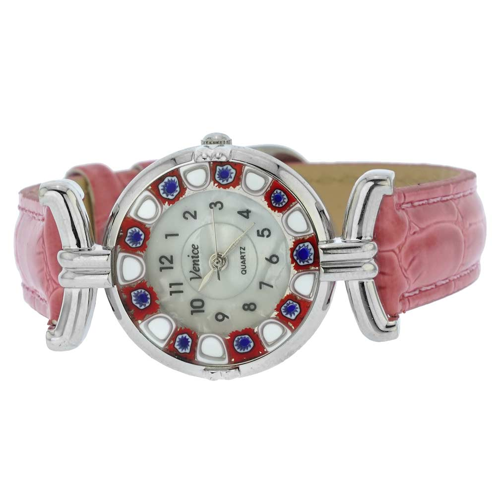 Murano Millefiori Watch With Leather Band - Pink
