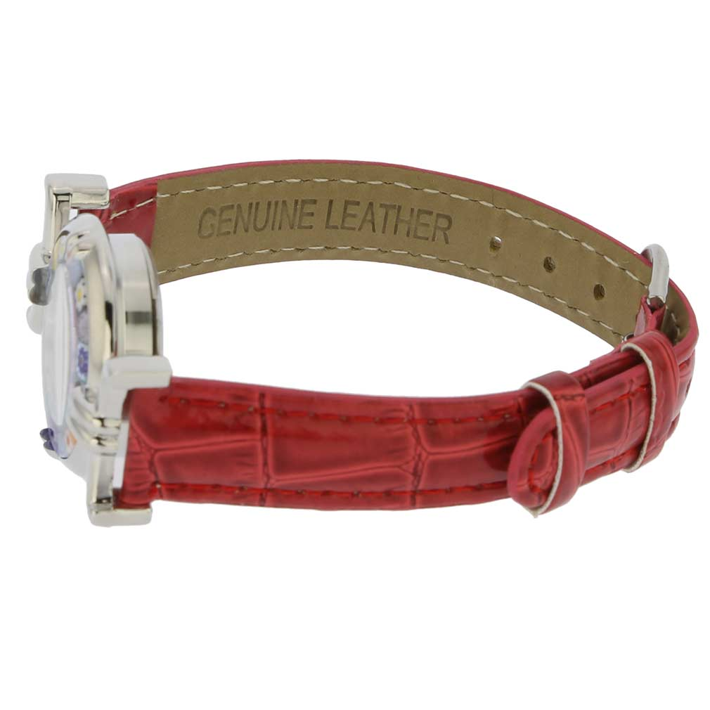 Murano Millefiori Watch With Leather Band - Silver Red
