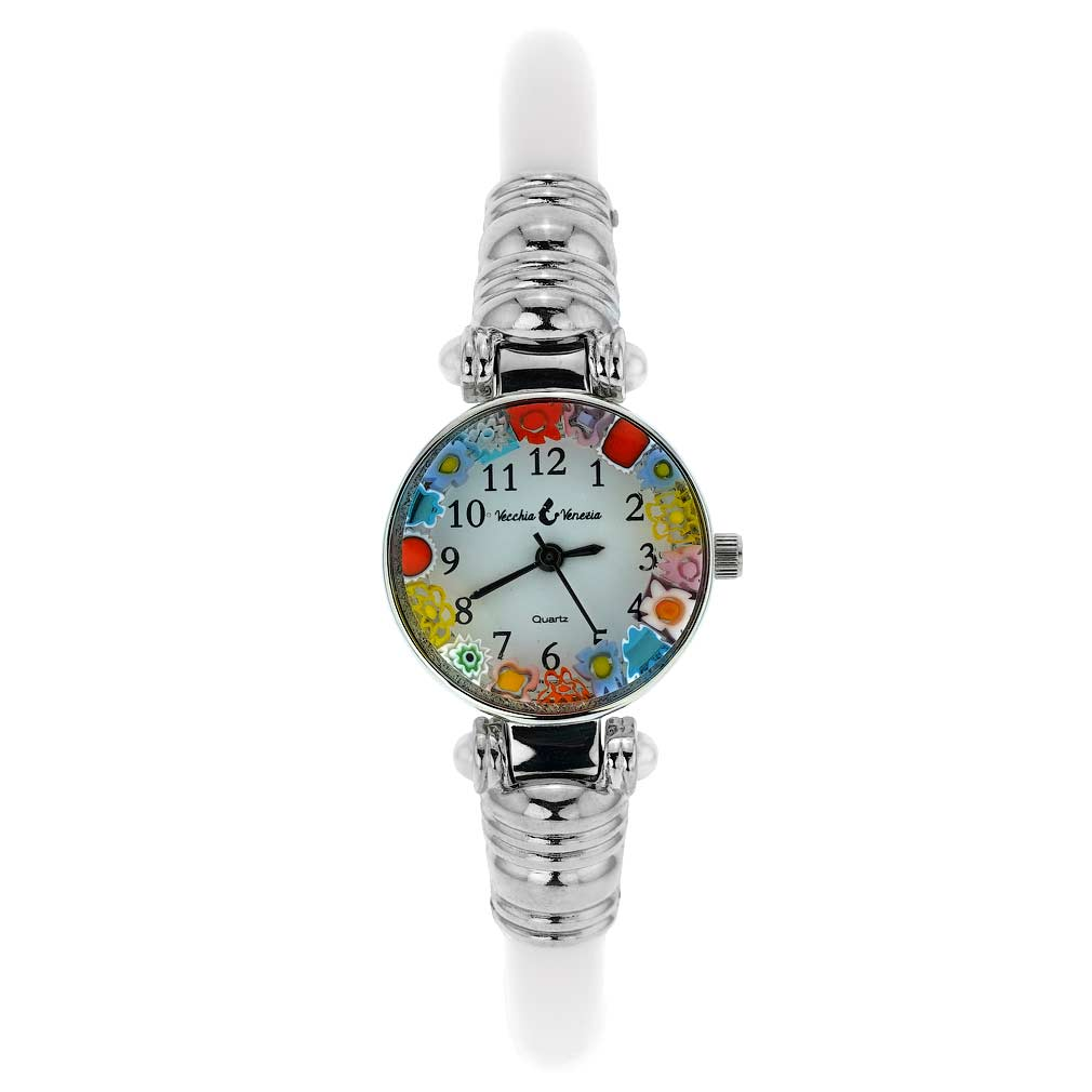 Murano Millefiori Bangle Watch - Silver White Multicolor