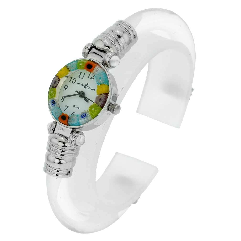 Murano Millefiori Bangle Watch - Silver Clear Multicolor