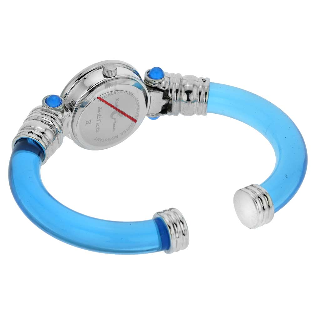 Murano Millefiori Bangle Watch - Silver Blue