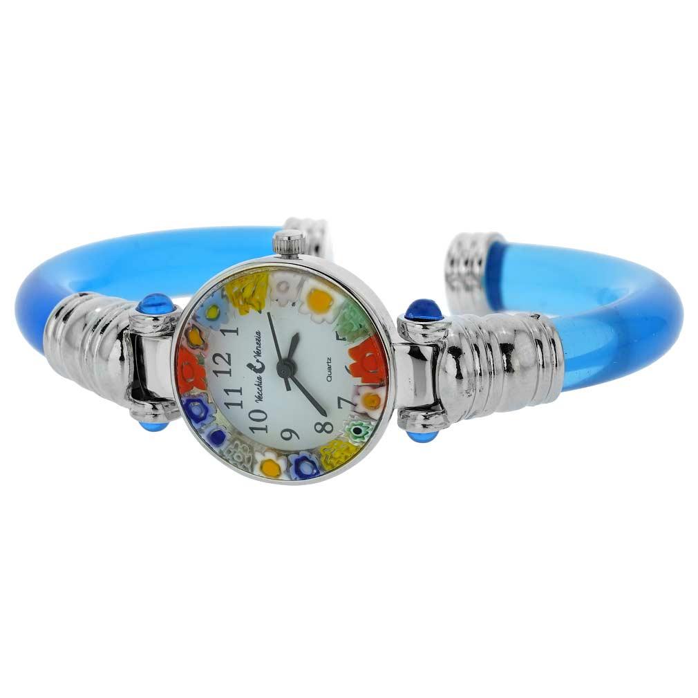 Murano Millefiori Bangle Watch - Silver Blue Multicolor