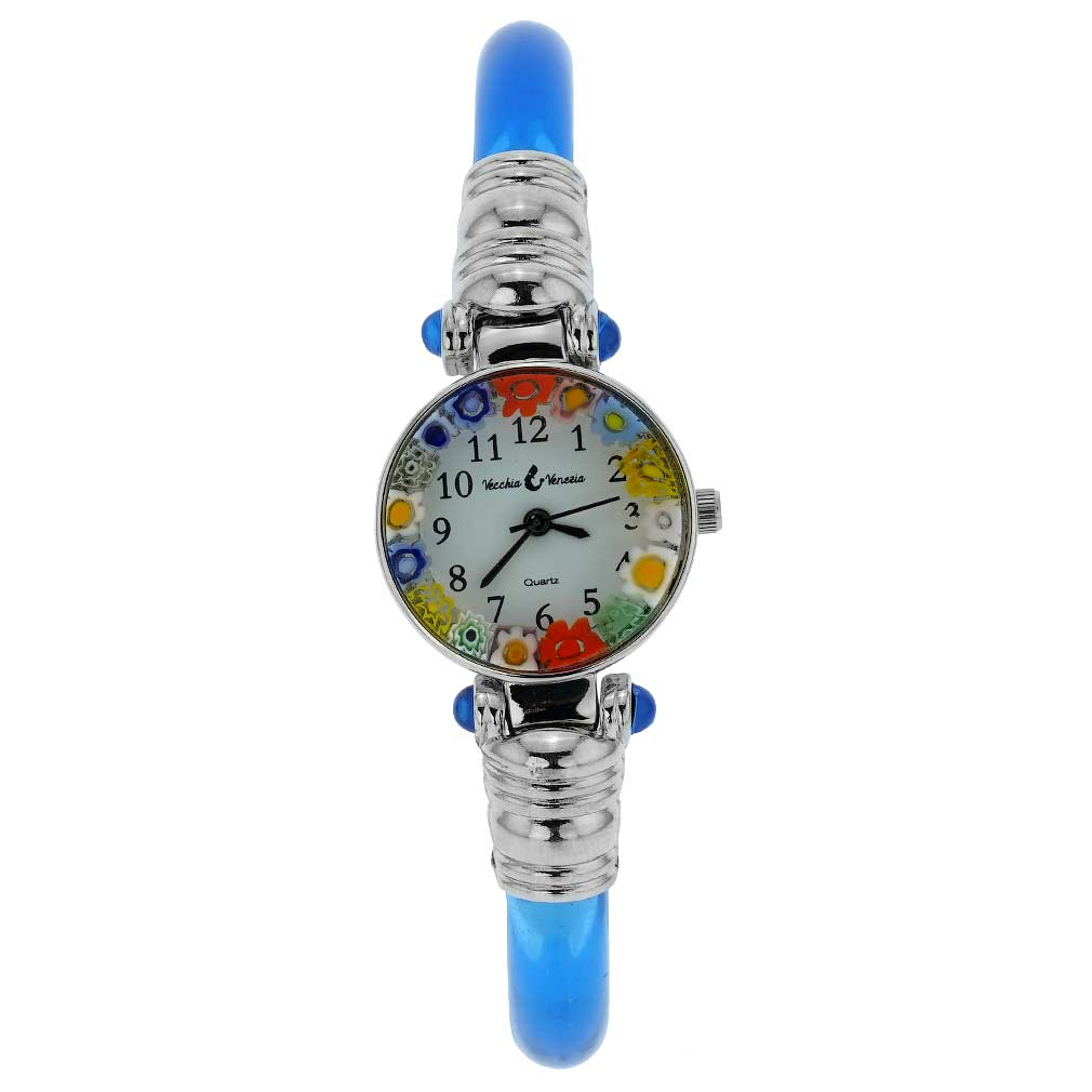 Murano Millefiori Bangle Watch - Silver Blue Multicolor