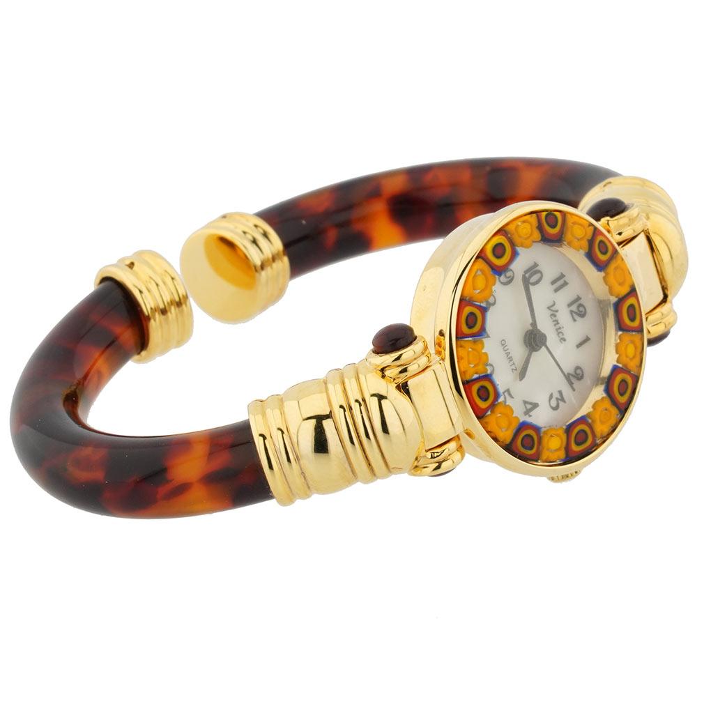 Murano Millefiori Bangle Watch - Amber