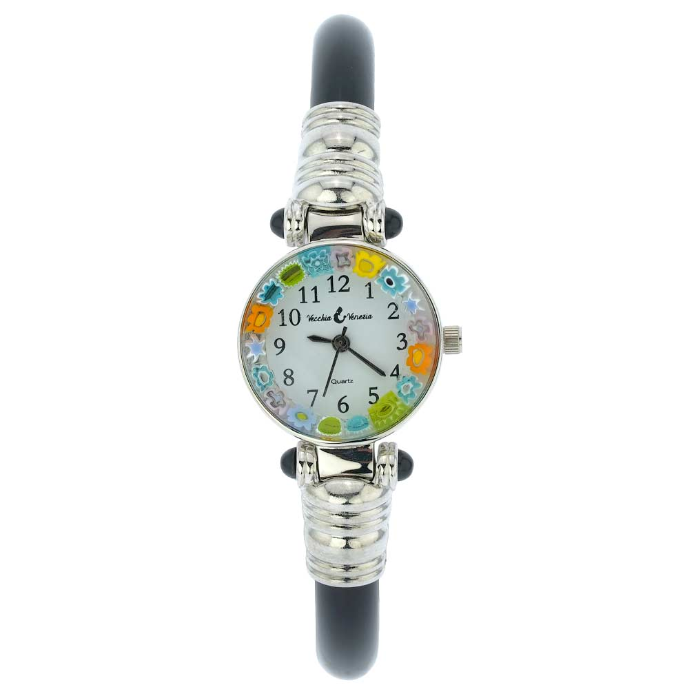 Murano Millefiori Bangle Watch - Silver Black Multicolor