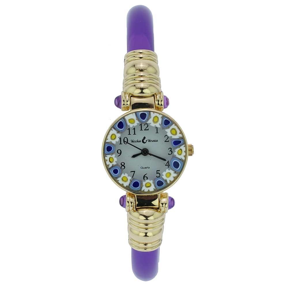 Murano Millefiori Bangle Watch - Purple