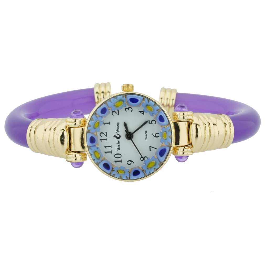 Murano Millefiori Bangle Watch - Purple