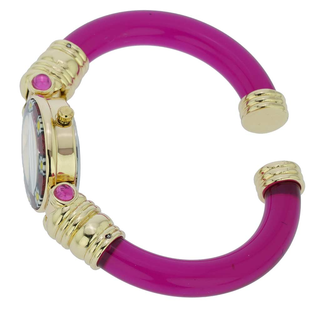 Murano Millefiori Bangle Watch - Magenta
