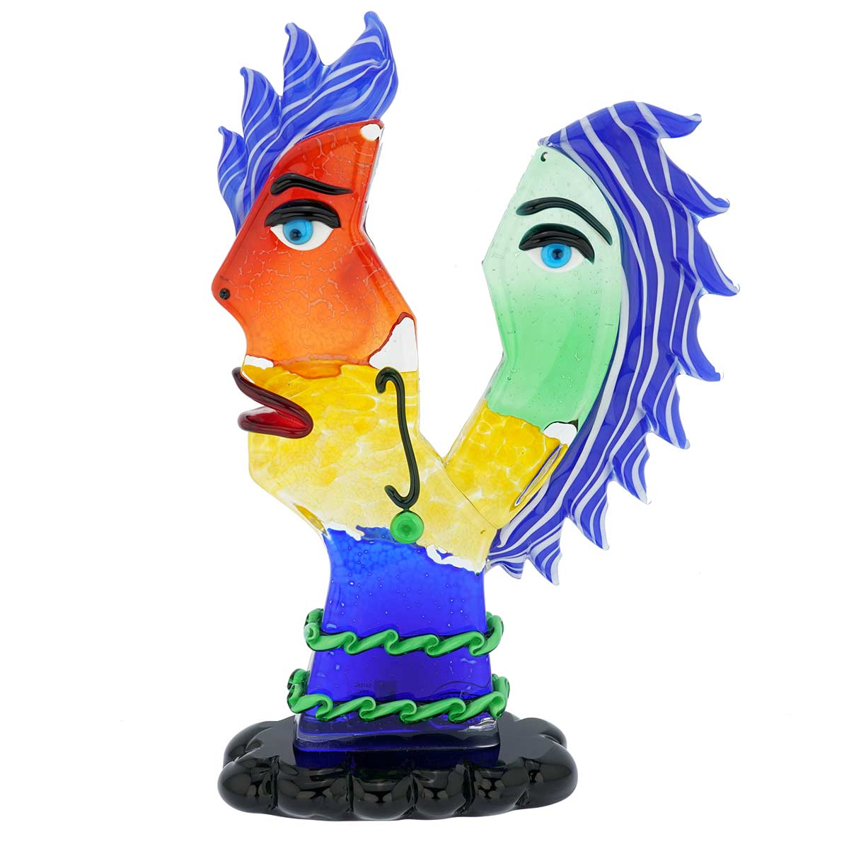 Murano Glass Picasso Head In Two Parts With Blue Hair