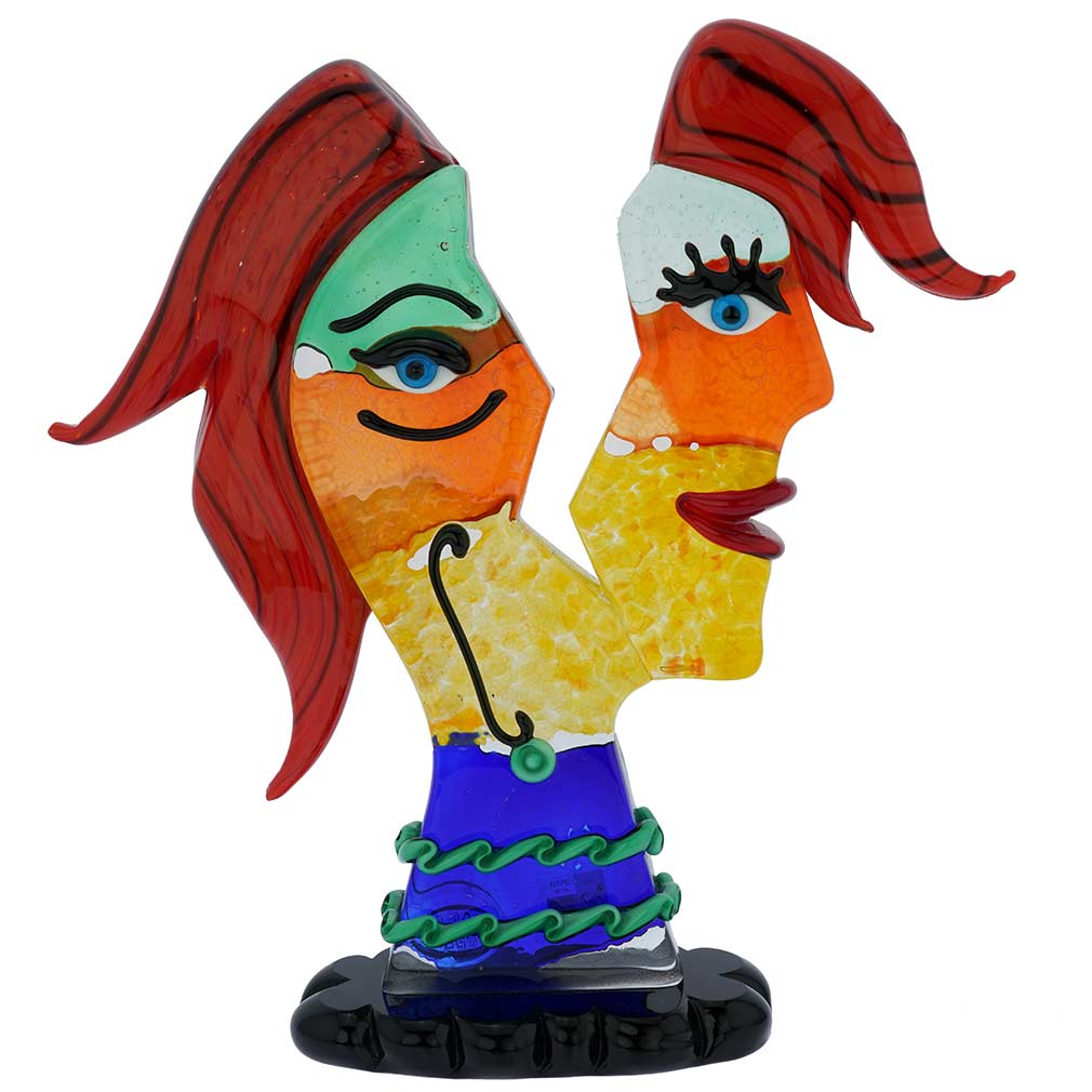 Murano Glass Picasso Head In Two Parts With Red Hair