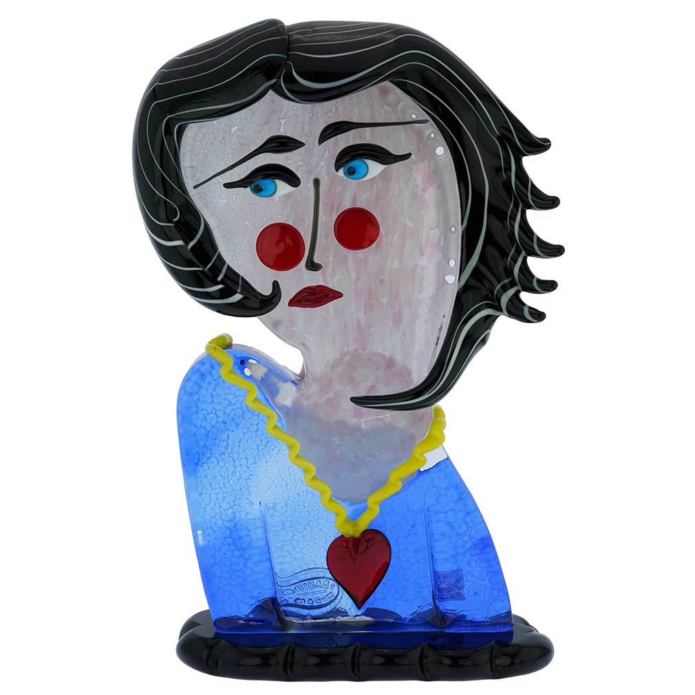 Murano Glass Picasso Head Of A Woman With Black Hair