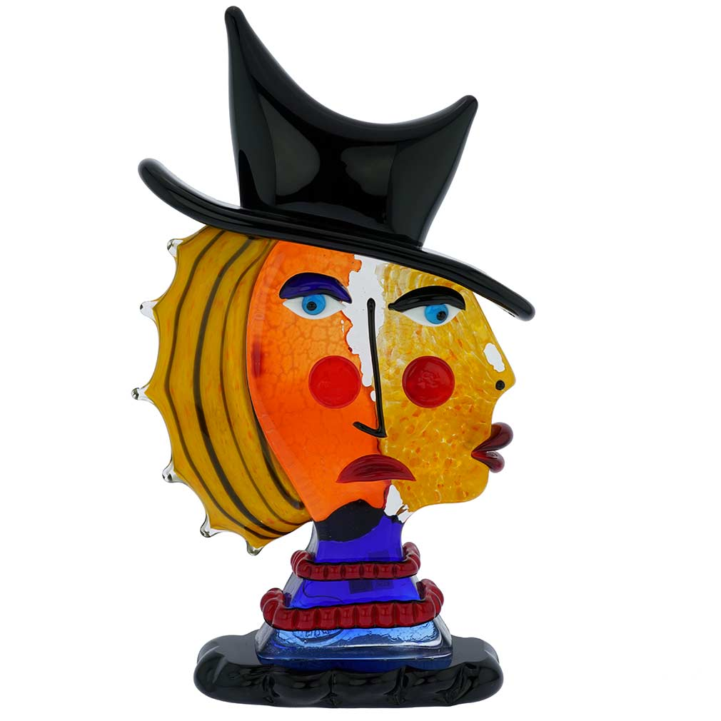 Murano Glass Picasso Head Of A Woman With Black Hat