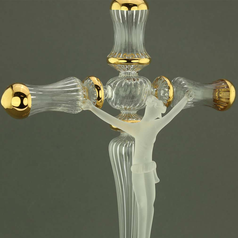 Murano Art Glass Cristallo Crucifix