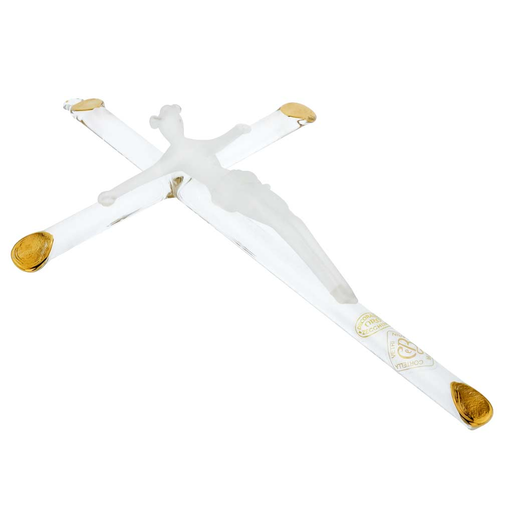Murano Art Glass Wall Crucifix - Clear Gold