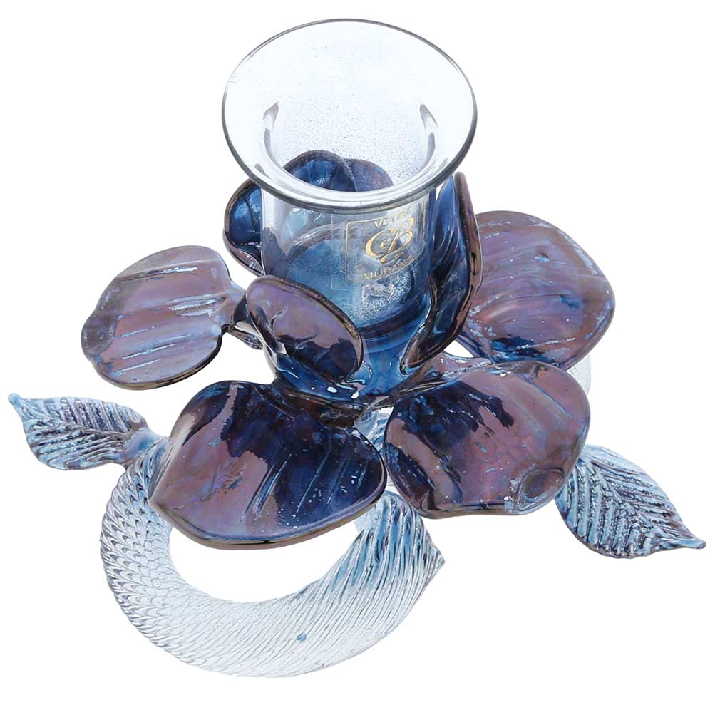 Blue Flower Murano Glass Candle Holder