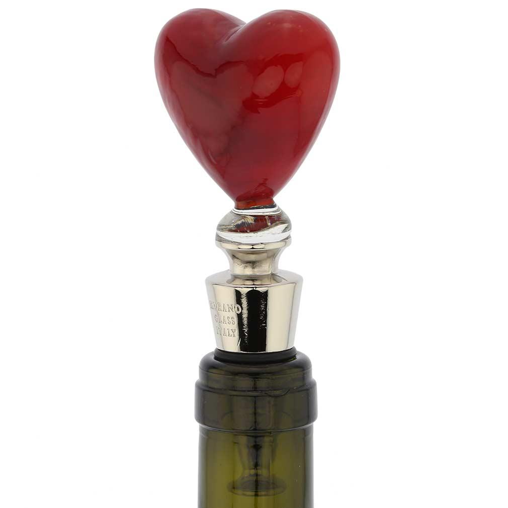 Murano Glass Heart Of Venice Bottle Stopper