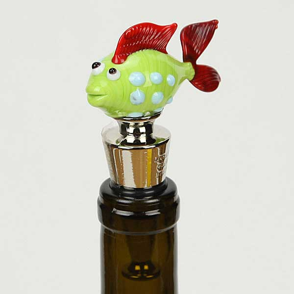 Murano Glass Fish Bottle Stopper - Green