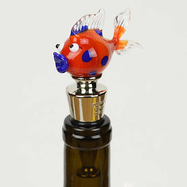 Murano Glass Fish bottle stopper - orange