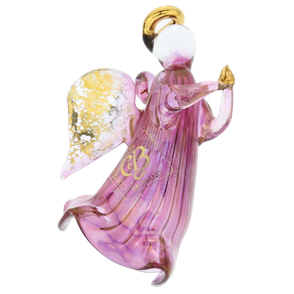 Murano Glass Angel Christmas Ornament - Purple