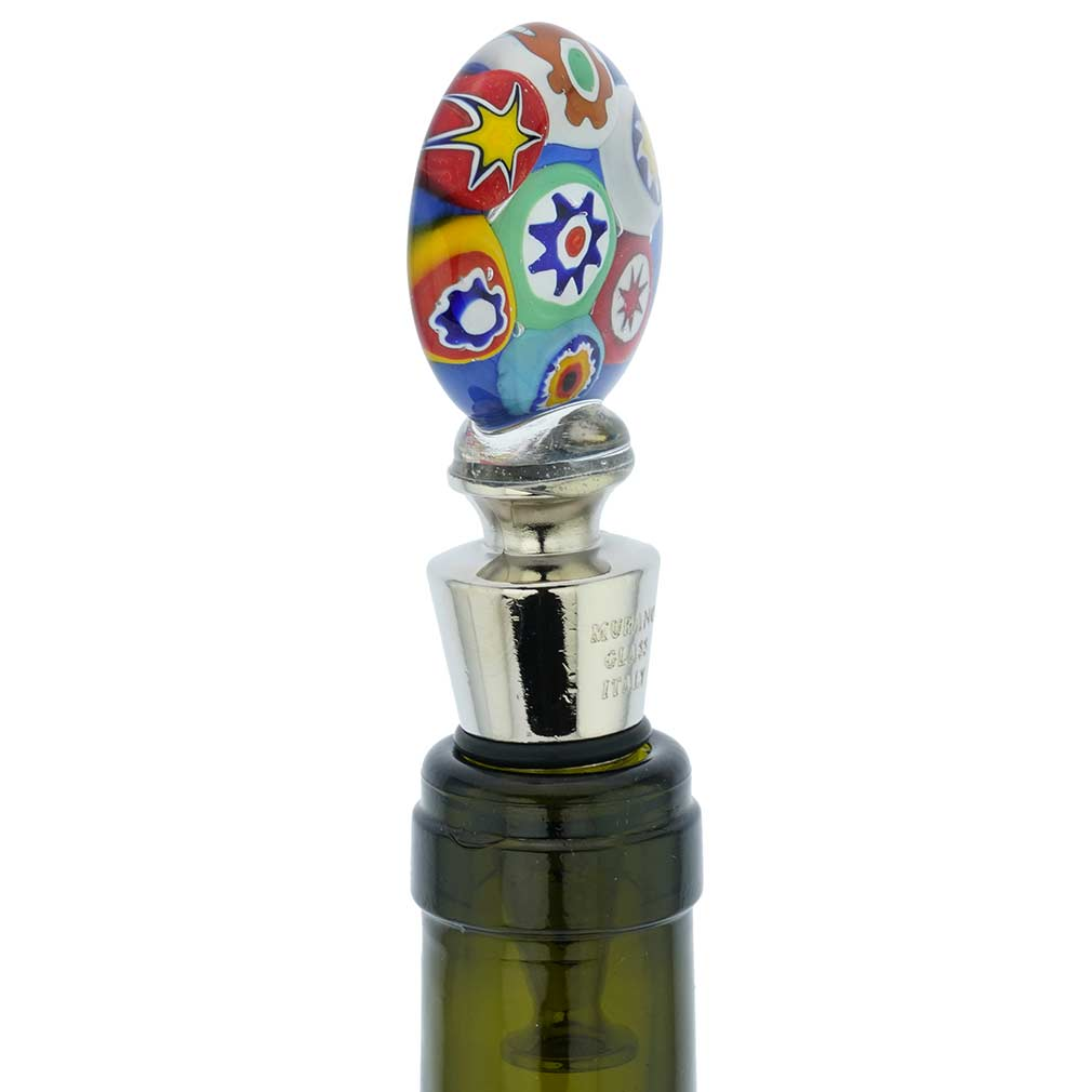 Murano Glass Millefiori Bottle Stopper - Blue