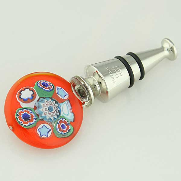 Murano Glass Millefiori Bottle Stopper - Red
