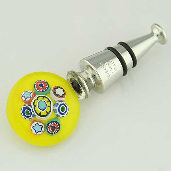 Murano Glass Millefiori Bottle Stopper - Yellow